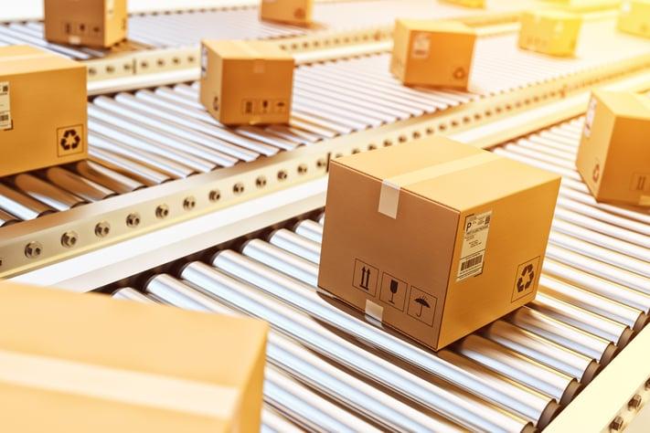 Boxes on a conveyor belt